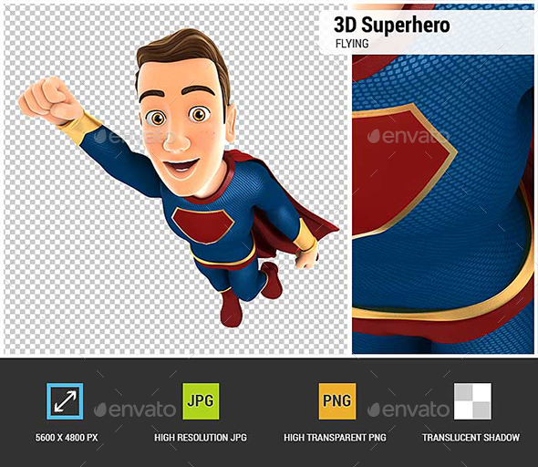 GraphicRiver 3D Superhero Flying 20947697