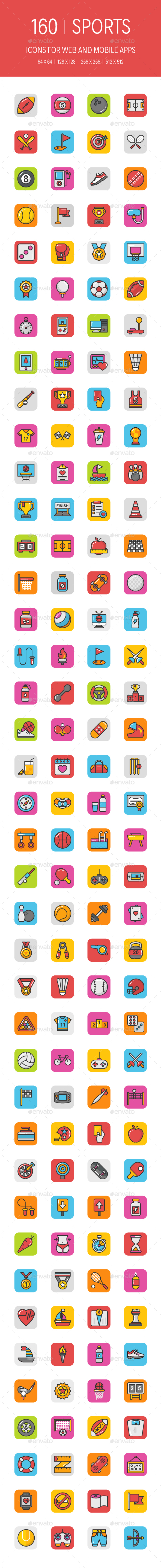 GraphicRiver 160 Sports and Games Icons 20947711