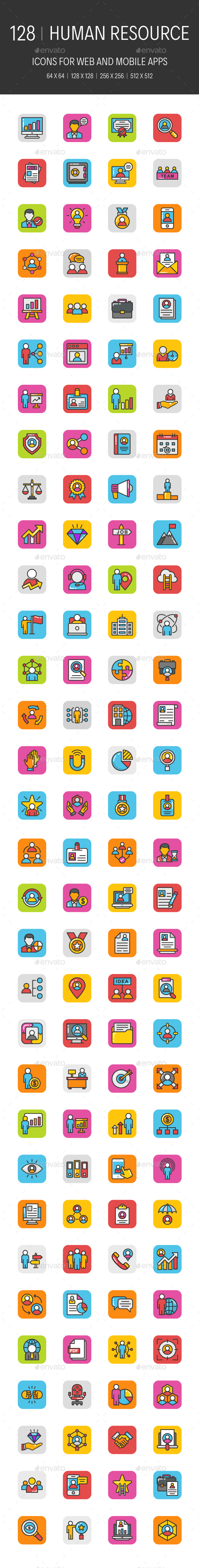 GraphicRiver 128 Human Resource Icons 20947733