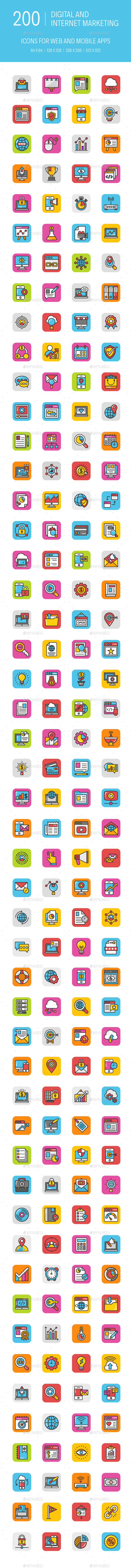 GraphicRiver 200 Digital Internet Marketing Icons 20947755
