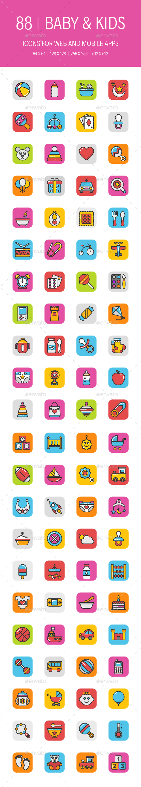 GraphicRiver 88 Baby and Kids Icons 20947773