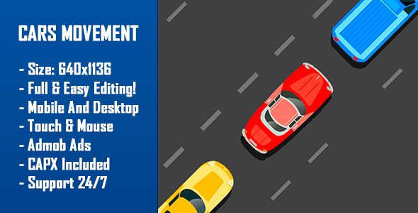 Download Cars Movement - HTML5 Game + Mobile Version! (Construct-2 CAPX)