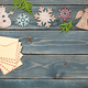 Christmas decoration and retro style envelopes on wooden background - PhotoDune Item for Sale