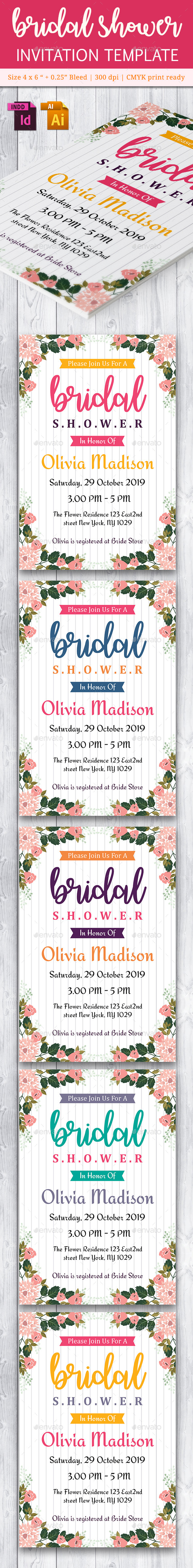 Bridal Shower Invitation Template - Vol. 4 - Cards & Invites Print Templates