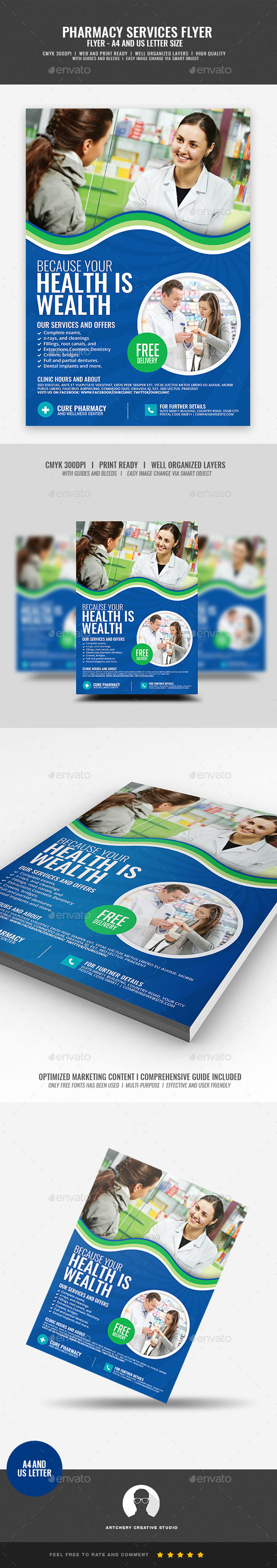 GraphicRiver Pharmaceutical Services Flyer 20948090