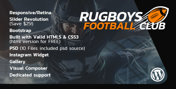 RugBoys - American Football WordPress Theme - Nonprofit WordPress