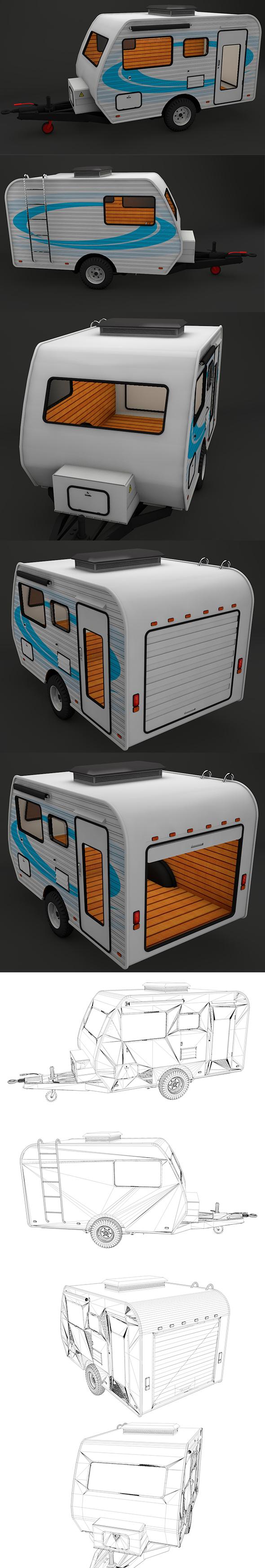 Caravan House Car - FULL Edition with Textures 1080 - 3DOcean Item for Sale