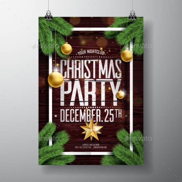 GraphicRiver Vector Merry Christmas Party Design with Holiday 20948271