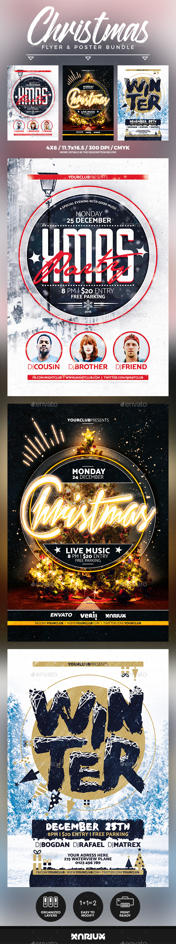 Christmas Flyer and Poster Bundle - Events Flyers