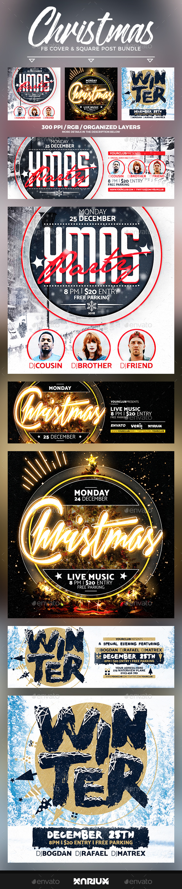 GraphicRiver Christmas Party Facebook Cover Bundle 20948448