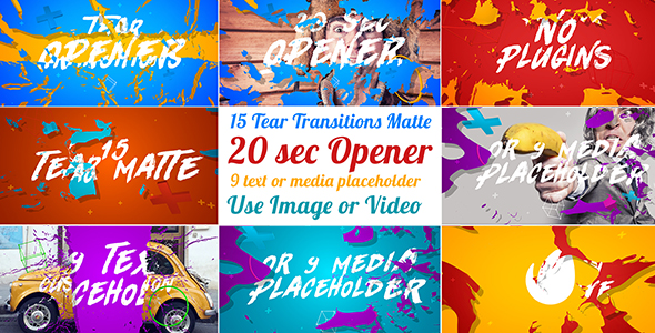 Videohive - 15 Tear Transitions with Opener 20948501