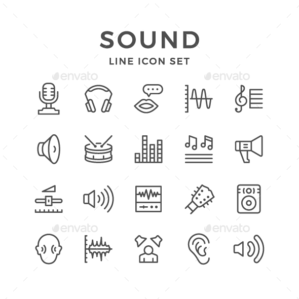 GraphicRiver Set Line Icons of Sound 20948504