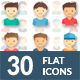 30 Boys And Girls Flat User Icon - GraphicRiver Item for Sale