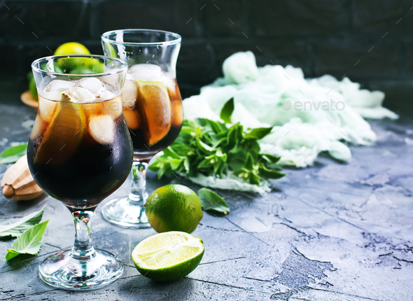 drink with limes - Stock Photo - Images
