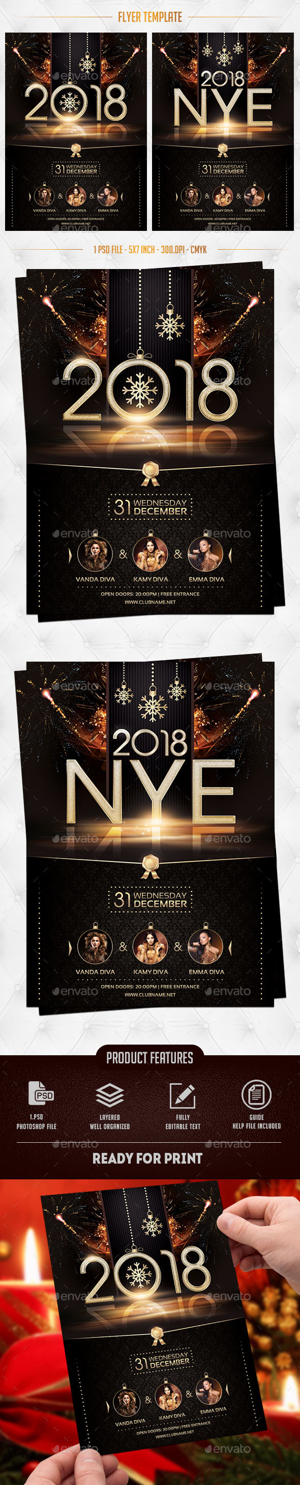 2018 NYE Flyer Template - Events Flyers