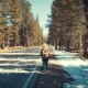 Woman Walking Alone at Street in the Middle of Nowhere - VideoHive Item for Sale