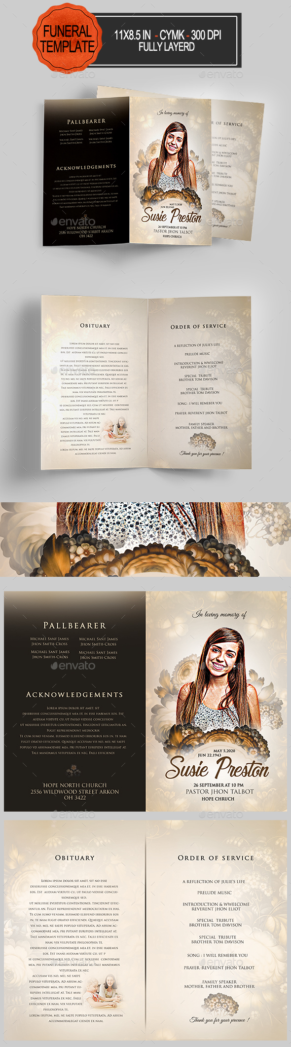 GraphicRiver Funeral Program Template 20948677