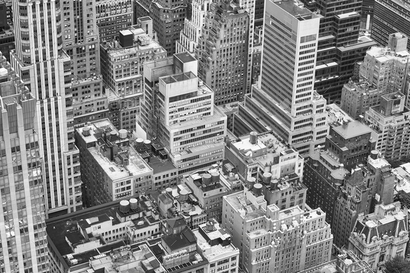 Black and white aerial picture of New York City. - Stock Photo - Images