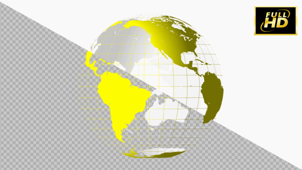 VideoHive Earth Globe 3D Yellow & Grid 20949247