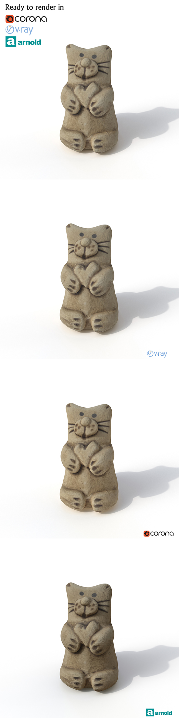 Statuette Cat - 3DOcean Item for Sale