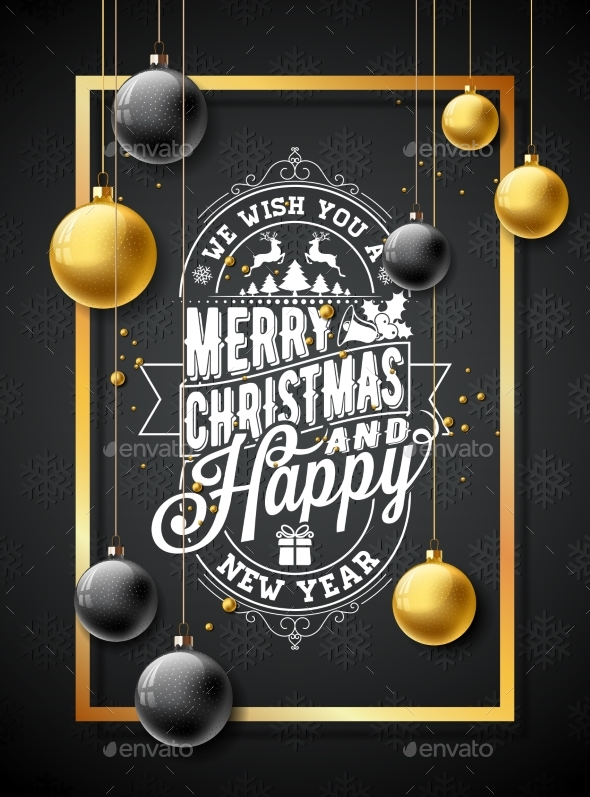 Vector Merry Christmas Illustration on Black - Christmas Seasons/Holidays