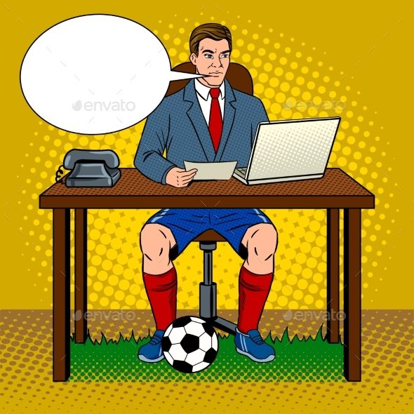 Businessman Soccer Pop Art Vector Illustration - People Characters