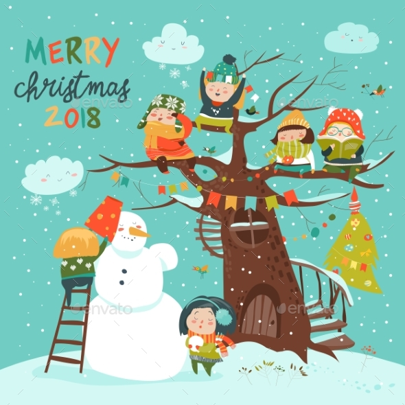 GraphicRiver Happy Children Celebrating Christmas 20949409