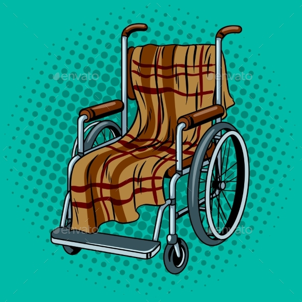 GraphicRiver Wheelchair with Plaid Pop Art Vector 20949428