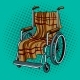 Wheelchair with Plaid Pop Art Vector