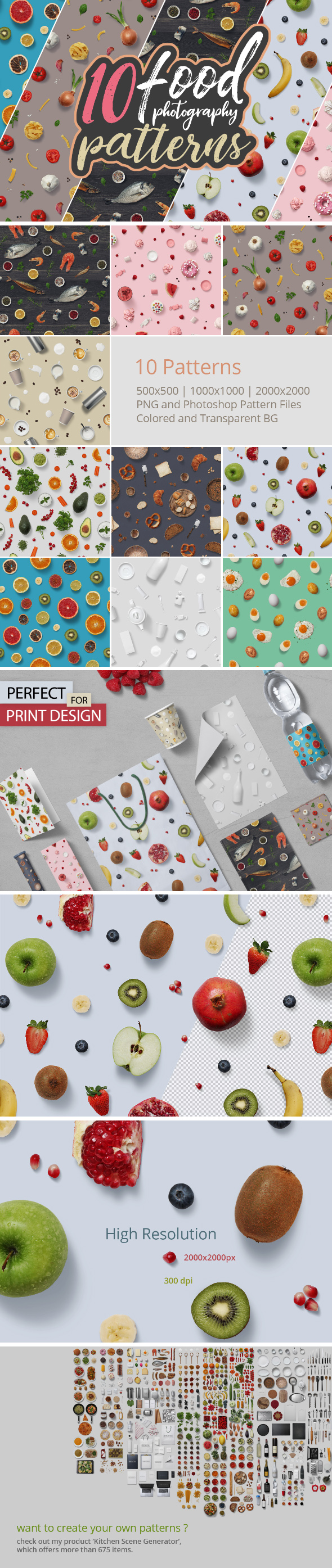 GraphicRiver 10 Food Photography Patterns 20949458