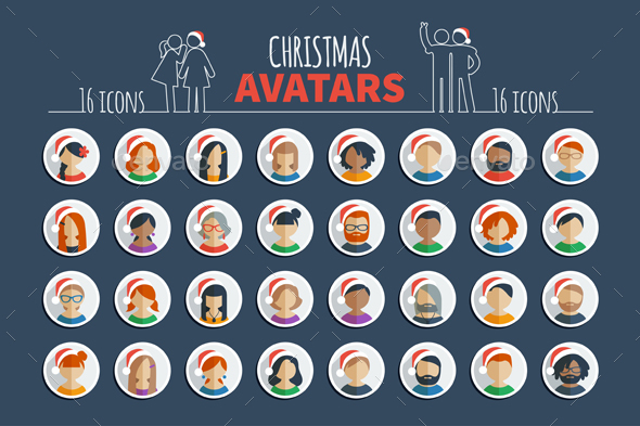 Male and female avatars and set of Christmas userpics in Santa hats - People Characters