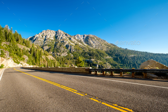 Highway at Lake Tahoe in California - Stock Photo - Images