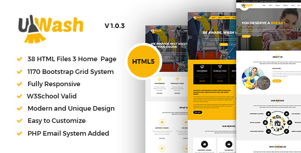 Image of Uwash - Cleaning Service Company HTML5 Template