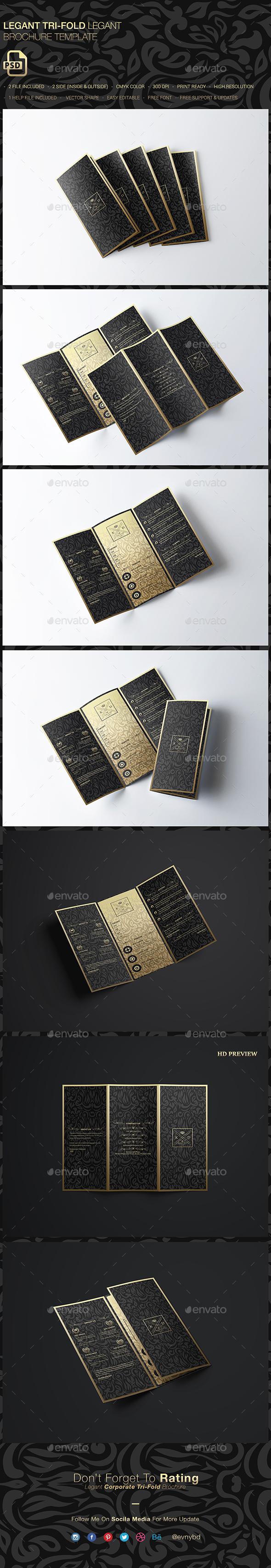 Legant Elegant Tri-fold Brochure - Brochures Print Templates