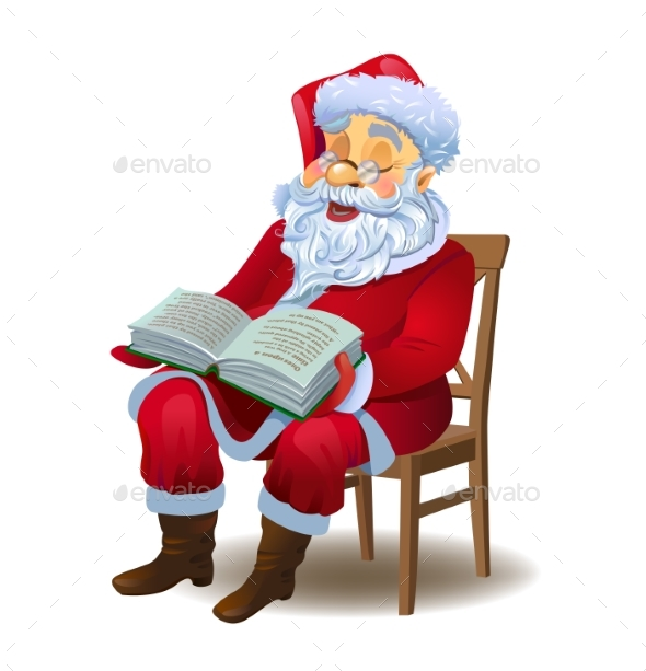Santa Claus Reading the Book - Christmas Seasons/Holidays