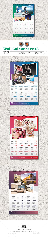 GraphicRiver Wall Calendar 2018 20949638