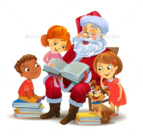 Santa Claus Reading the Book To Children - Seasons/Holidays Conceptual