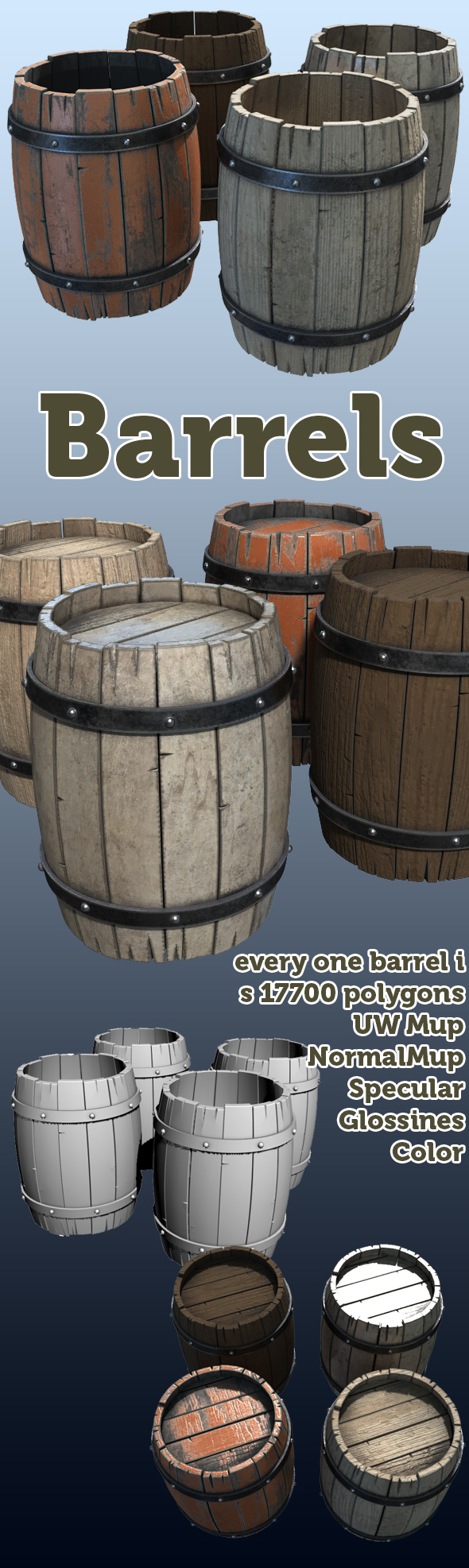 barrels low poly - 3DOcean Item for Sale
