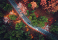 Aerial view of road with blurred car in autumn forest - PhotoDune Item for Sale