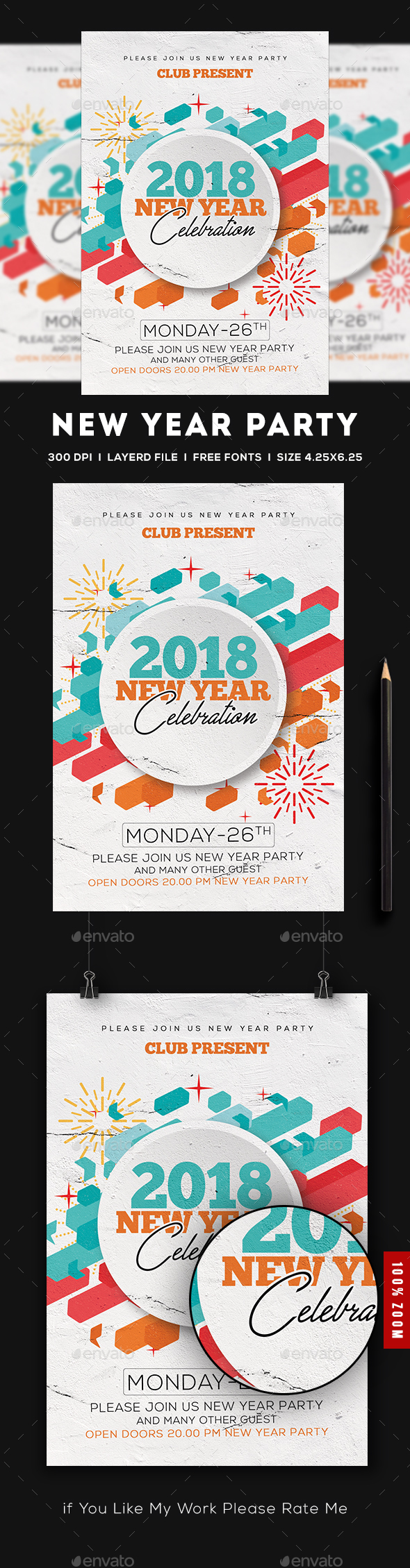 GraphicRiver 2018 New Year Flyer 20950463