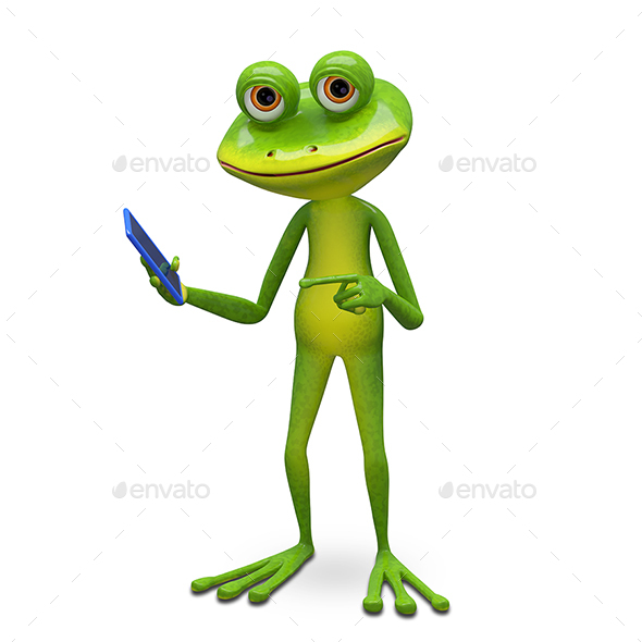 GraphicRiver 3D Illustration Frog and Smartphone 20950550