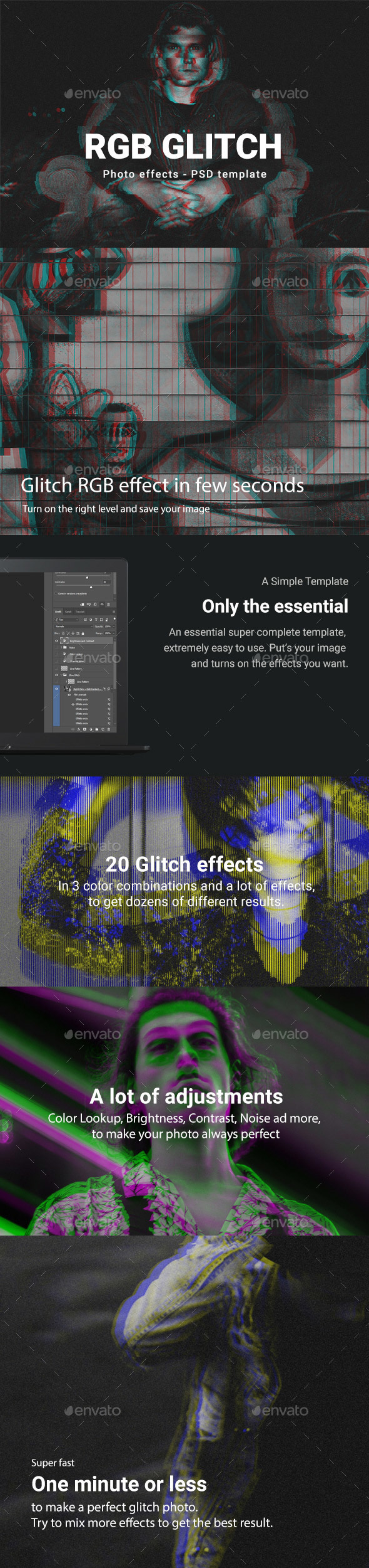 RGB Glitch Photoshop Template - Tech / Futuristic Photo Templates