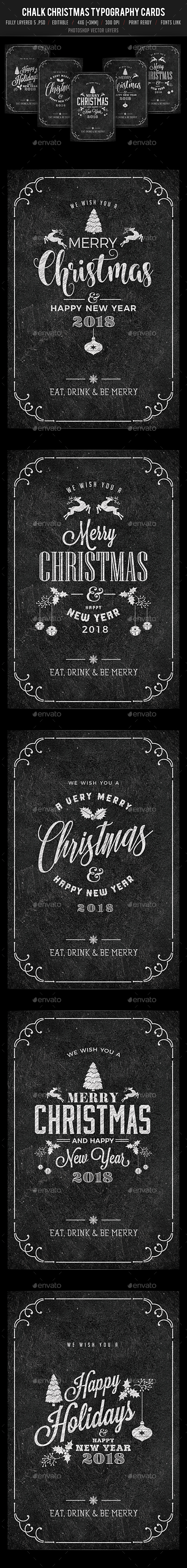 GraphicRiver 5 Chalk Christmas Typography Card Set 20950555