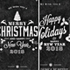 5 Chalk Christmas Typography Card Set