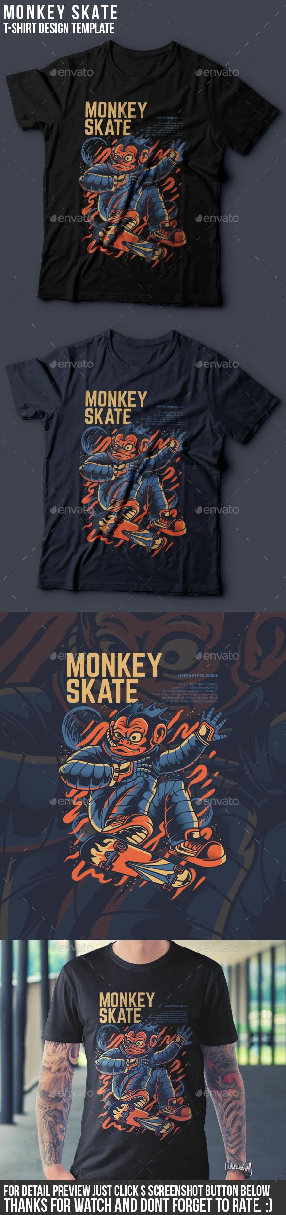 Monkey Skate T-Shirt Design - Funny Designs
