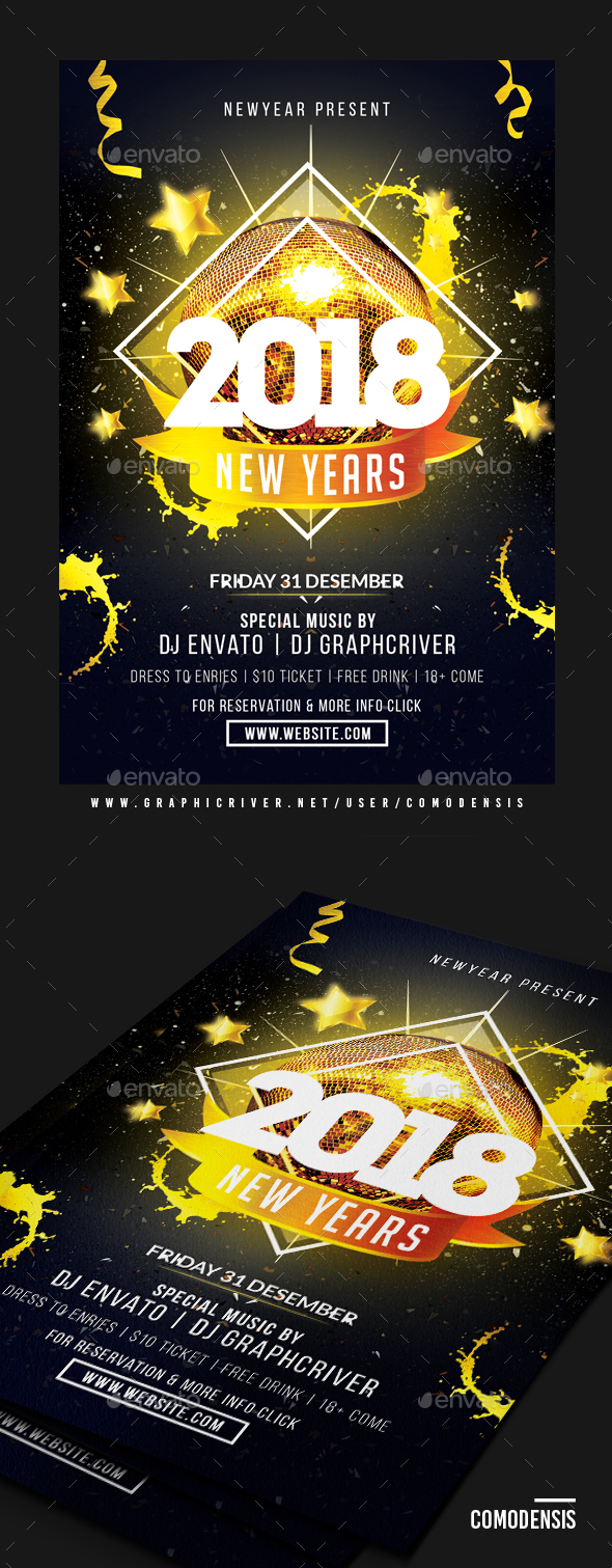 GraphicRiver 2018 NYE Party Flyer 20950684