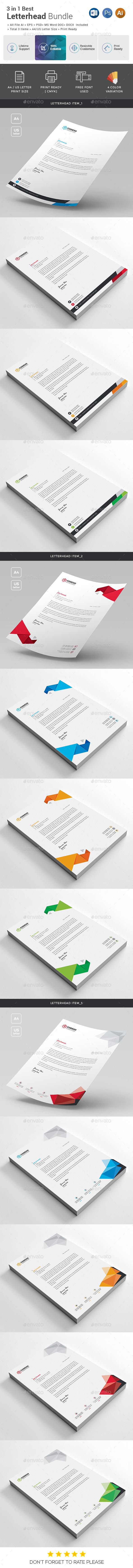 GraphicRiver Letterhead Bundle 3 in 1 20950850
