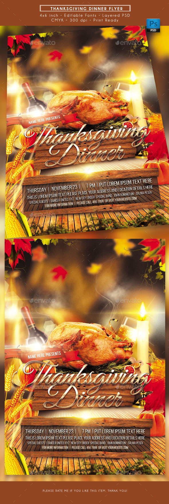 GraphicRiver Thanksgiving Dinner Flyer 20950899