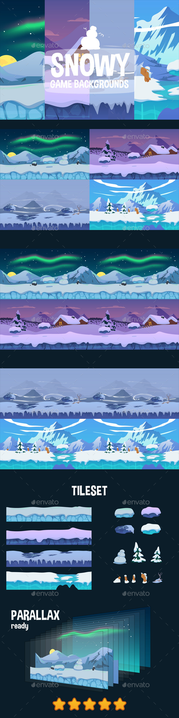 Parallax Snowy 2D Backgrounds - Backgrounds Game Assets