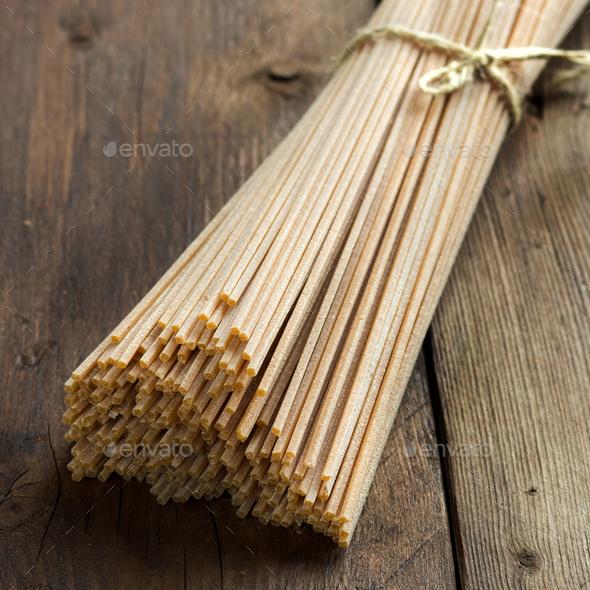 Whole wheat spaghetti - Stock Photo - Images
